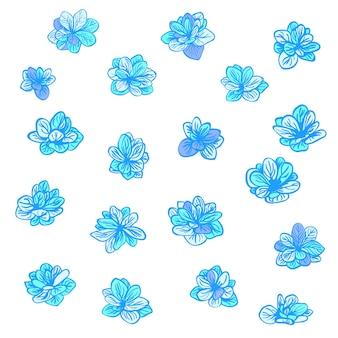 Conjunto de vetores coloridos com flores azuis da primavera elementos de clipart para banner de cartão postal impressão de camiseta