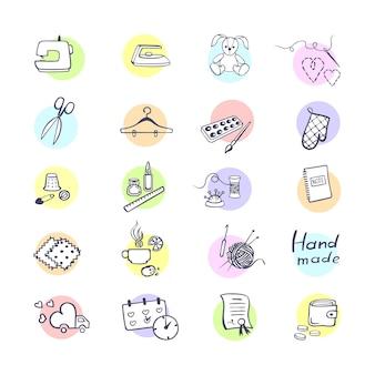 Conjunto de vetores coloridos com ícone de contorno de equipamentos de costura e bordado