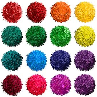 Conjunto de vetores coloridos com ilustração de pompom isolado no fundo branco para você projetar