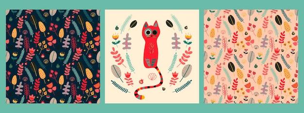 Conjunto de vetores com um pôster e padrões com um lindo gato vermelho com uma variedade de flores e folhas