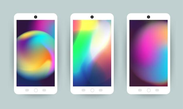 Conjunto de vetores conceito de design de tela móvel papel de parede holográfico fluido brilhante fundo gradiente