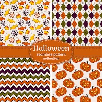 Conjunto de vetores de 4 padrões sem emenda de halloween
