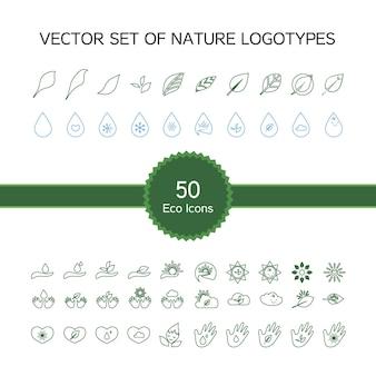 Conjunto de vetores de 50 ícones de ecologia, logotipo da natureza, símbolos de biologia de folhas, mão, sol, neve, gota