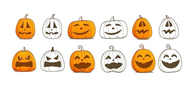 Conjunto de vetores de abóbora de halloween. coleção de vetores de diferentes silhuetas de abóboras
