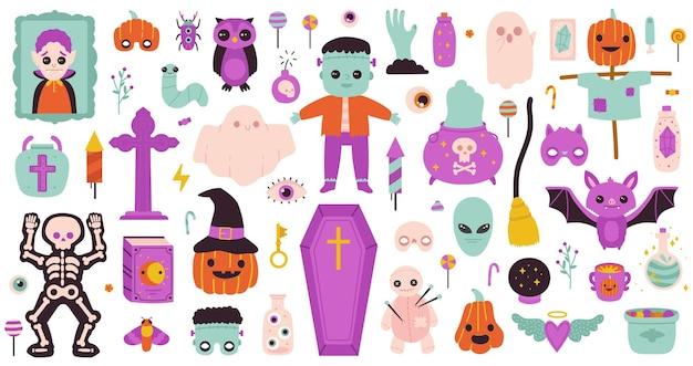 Conjunto de vetores de abóbora fantasma feliz de halloween e doces para festa de halloween