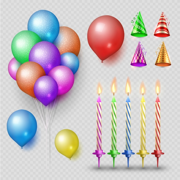 Conjunto de vetores de acessórios de festa. velas realistas, balões e chapéus de festa isolados em fundo transparente