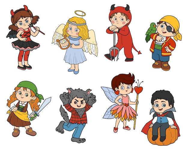 Conjunto de vetores de adesivos coloridos de personagens infantis de halloween com crianças em fantasias de carnaval