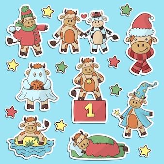 Conjunto de vetores de adesivos com desenhos animados de touros bonitos, o símbolo do ano, para design e decoração