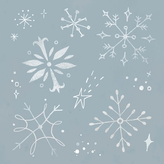 Conjunto de vetores de adesivos de floco de neve de inverno