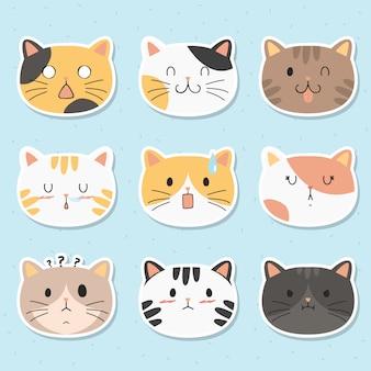 Conjunto de vetores de adesivos de gatos engraçados
