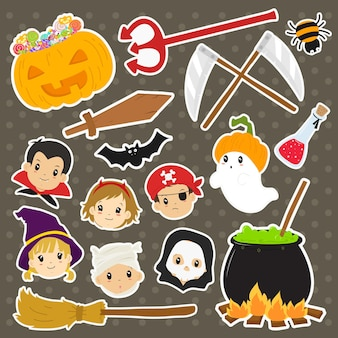 Conjunto de vetores de adesivos de personagens e elementos de halloween fofos