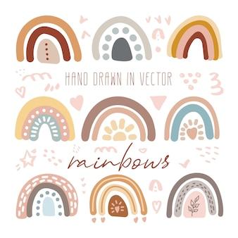 Conjunto de vetores de adorável arco-íris clipart em estilo escandinavo moderno. ilustração engraçada de higiene fofa