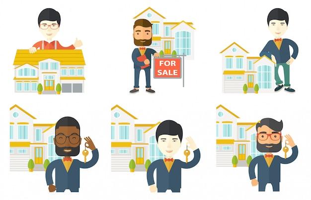 Conjunto de vetores de agentes imobiliários e proprietários de casas.