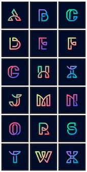 Conjunto de vetores de alfabetos retrô colorido