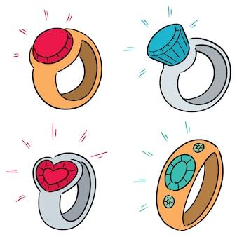 Conjunto de vetores de anel de casamento