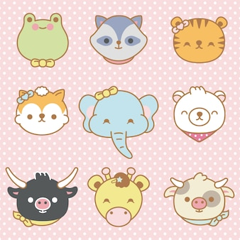 Conjunto de vetores de animais bonito dos desenhos animados isolados - vetor