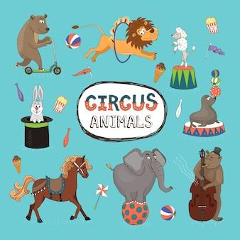 Conjunto de vetores de animais de circo coloridos com uma moldura central com texto