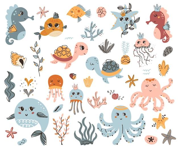 Conjunto de vetores de animais marinhos fofos