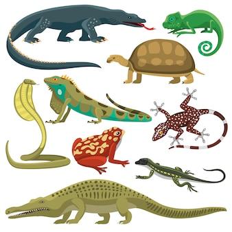 Conjunto de vetores de animais répteis.