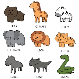 Conjunto de vetores de animais