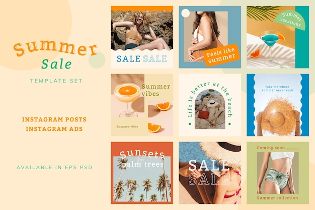 Conjunto de vetores de anúncio de venda de verão para mídia social compatível com ia