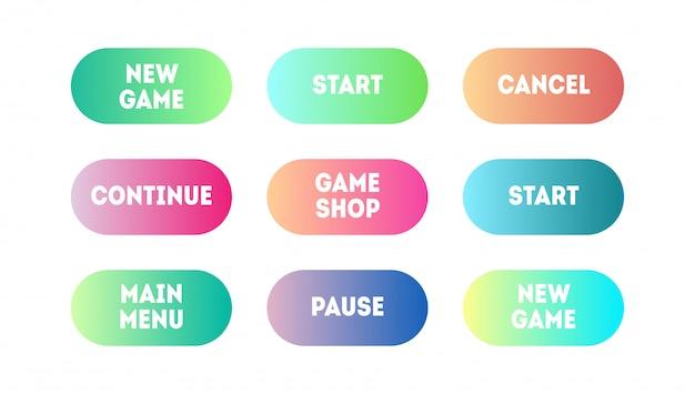Conjunto de vetores de app gradiente moderno ou botões de jogo. botão web da interface do usuário, design do material