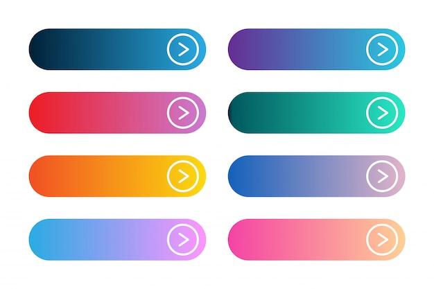 Conjunto de vetores de app gradiente moderno ou botões de jogo. interface de usuário web botão com setas.