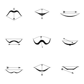 Conjunto de vetores de arco. ilustração em forma de arco simples, elementos editáveis e podem ser usados no design de logotipo