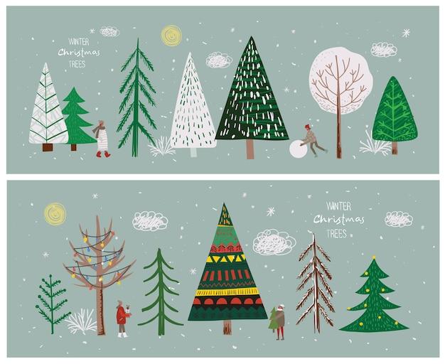 Conjunto de vetores de árvores de natal de inverno e sol, neve, floco de neve, arbusto, nuvem, pessoas, para, criar, ...