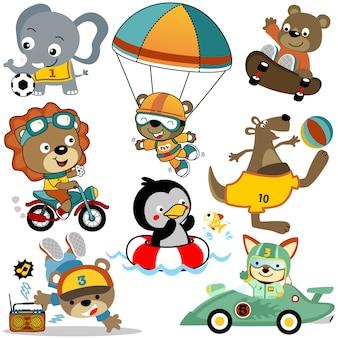 Conjunto de vetores de atividades de desenho animado de animais fofos