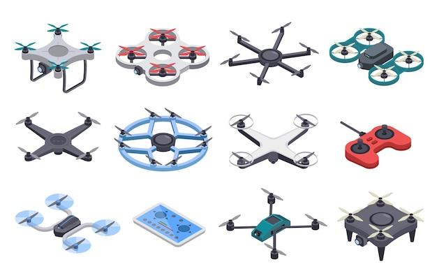 Conjunto de vetores de aviões não tripulados drone isométrico com hélices transportadores remotos aéreos