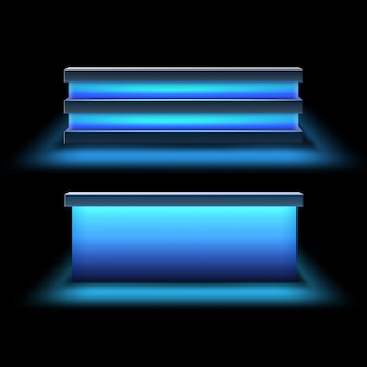 Conjunto de vetores de balcões de barra com luz de fundo azul brilhante, vista frontal isolada no fundo branco