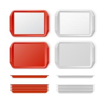 Conjunto de vetores de bandeja retangular de plástico vermelho branco com alças, vista superior isolada no fundo