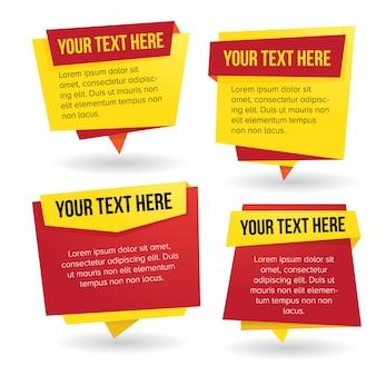 Conjunto de vetores de banner de papel com tema vermelho e amarelo