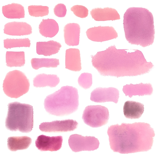 Conjunto de vetores de banner rosa estilo aquarela