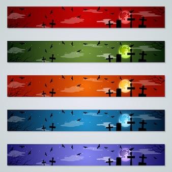 Conjunto de vetores de banners de halloween
