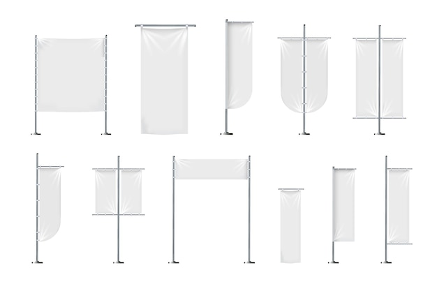 Conjunto de vetores de banners têxteis em branco ou sinalizadores em várias formas para publicidade de marketing de promoção de marca.