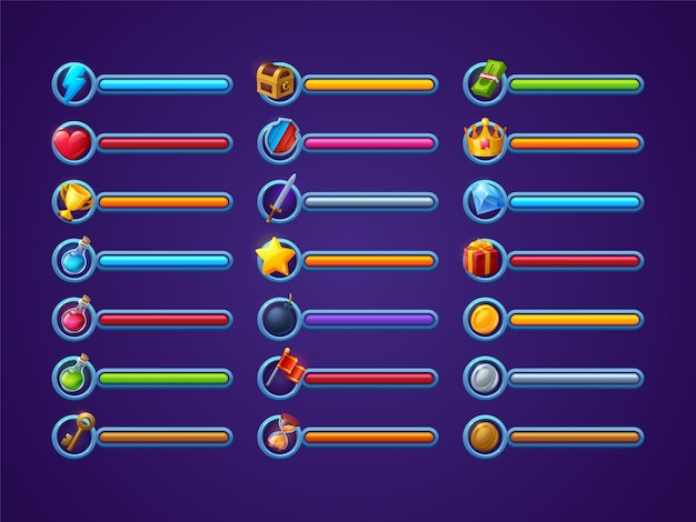 Conjunto de vetores de barras de progresso do jogo interface dos desenhos animados da interface do usuário, vida, poder ou saúde, magia, feitiço ...