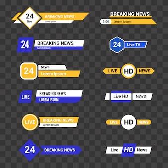 Conjunto de vetores de barras de tv para canais de notícias e esportes