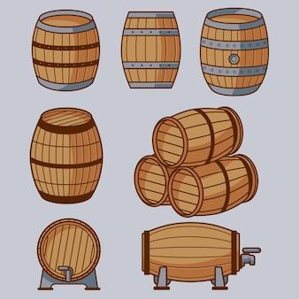 Conjunto de vetores de barril de madeira elegante
