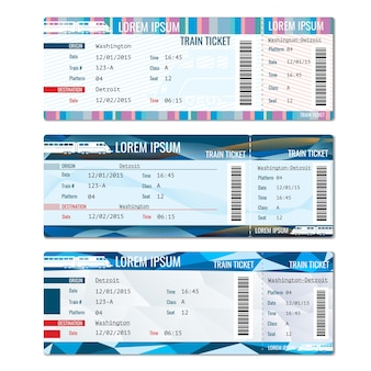 Conjunto de vetores de bilhetes de trem. cartão de passe ferroviário, ilustração de passageiro de viagem