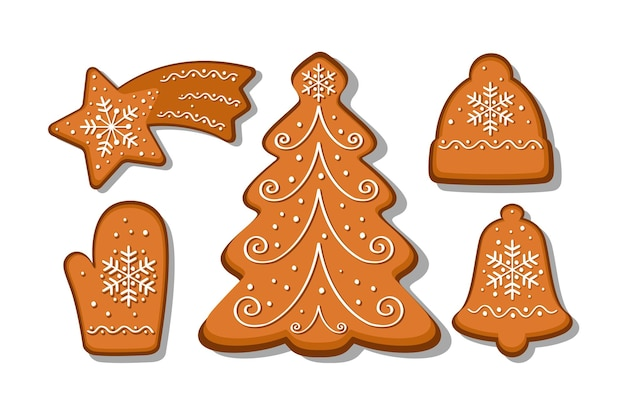 Conjunto de vetores de biscoitos de gengibre. árvore de natal, luva, sino, boné, estrela. coleção de biscoitos caseiros de férias. padaria de natal.