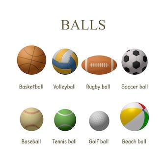 Conjunto de vetores de bolas de esporte isolado. basquete, futebol, tênis, bolas de beisebol.
