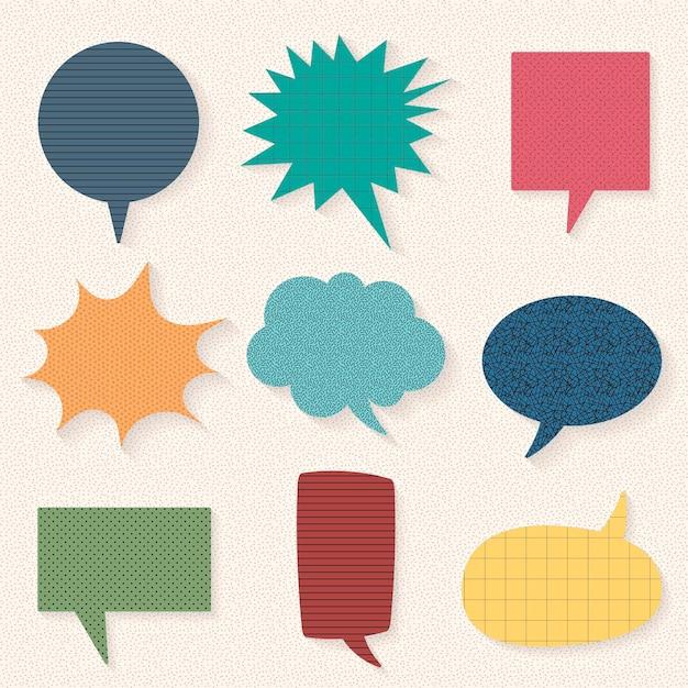 Conjunto de vetores de bolha de discurso colorido, design de papel liso