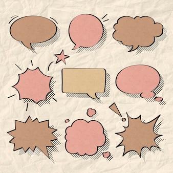 Conjunto de vetores de bolha de discurso em estilo de meio-tom
