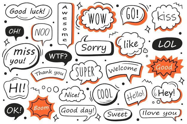 Conjunto de vetores de bolhas do discurso de mão desenhada com mensagem, saudações e diálogo. doodles.