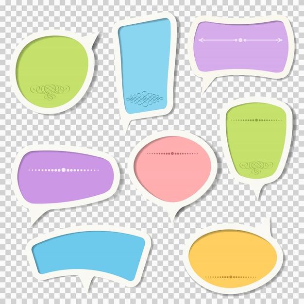 Conjunto de vetores de bolhas do discurso de papel com elementos caligráficos