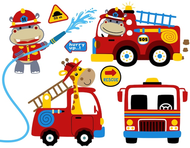 Conjunto de vetores de bombeiro com desenhos animados engraçados bombeiro