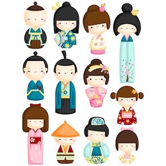 Conjunto de vetores de bonecas kokeshi
