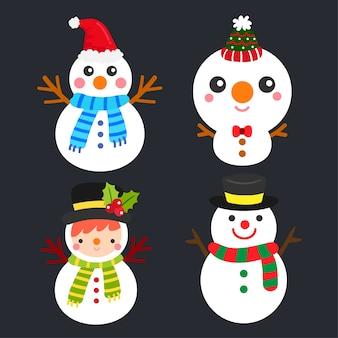 Conjunto de vetores de bonecos de neve.